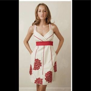 Anthro Floreat cream dress red embroidered flowers